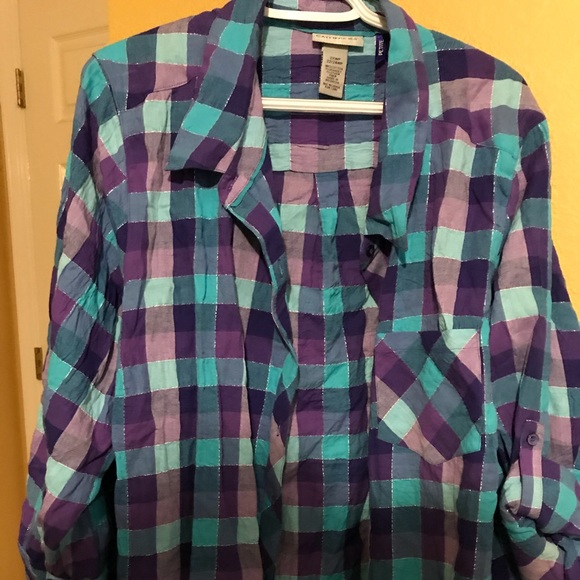 a1e61cb6f84 Catherines Tops - Blue and Purple Checkered Flannel (Petite)